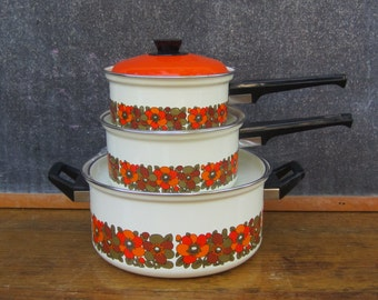 RESERVED *** Chefs Pride 7-Piece Porcelain Enameled Cookware Collection, Design Sunflower Orange