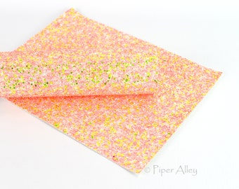 White Canvas Back Neon Coral /& Neon Yellow NEON SPRITZER 8x11 inches Chunky Glitter Fabric Sheet