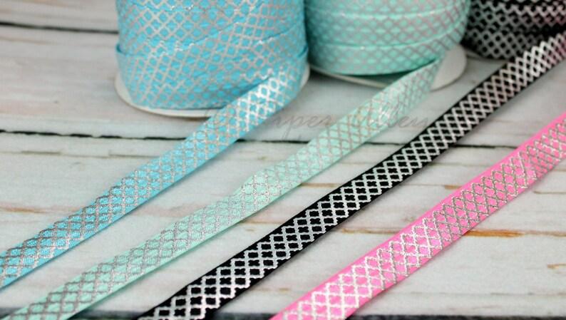 DIY Headbands Metallic Silver Print 58 Fold Over Elastic Elastic Trim AQUA Blue 5 yards Headband Supplies Silver Foil Dot FOE