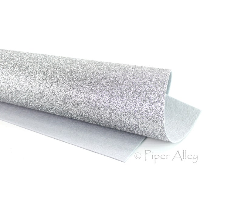 Wool Felt Fine Glitter Silver Glitter FELT 9x12 Sheet \u2013 Glitter Felt