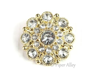Clear Gold Vintage Rhinestone, Acrylic Button, 28mm Large - DIY craft center, bouquet bling, headband embellishment