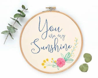 You Are My Sunshine | Hoop Art | Embroidery | Wall Decor | Hand Stitched
