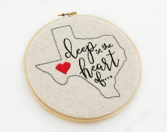 Deep in the Heart | Hoop Art | Embroidery | State Art | Texas | Wall Decor | Hand Stitched | Office Decor | Embroidery Hoop Art | Home Decor