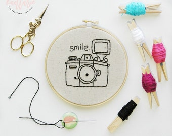 Smile Camera Hoop Art - Embroidery - Hand Stitched