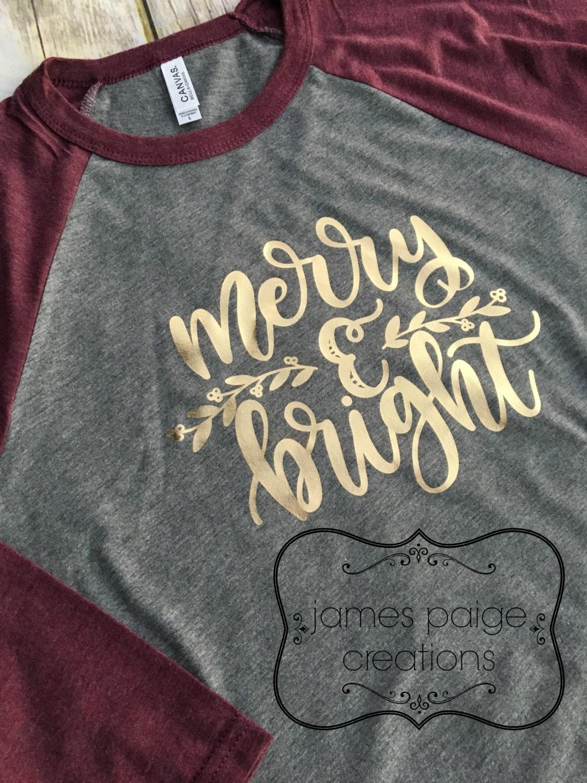 Christmas Shirt Womens Christmas T Shirt Merry Bright