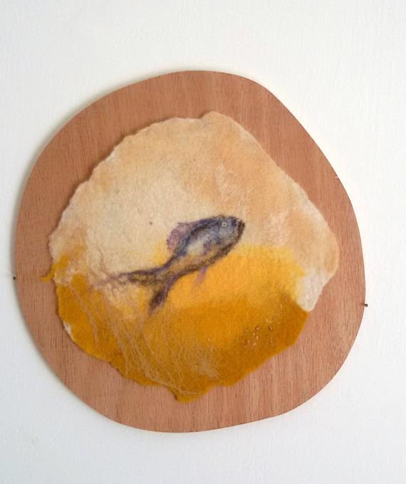 painted with blake and white  fibers of wool and silk Bird on Yarkon lake/' Israel