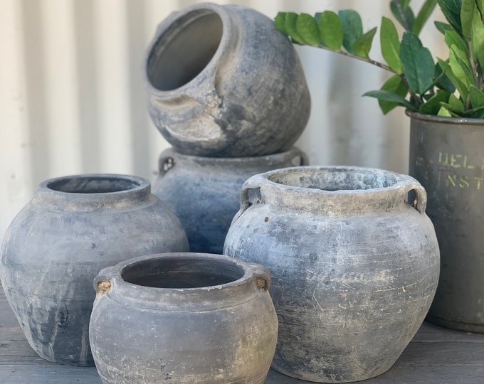 Featured listing image: Vintage Blackish Grey Clay Pottery