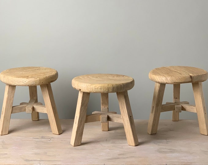 Featured listing image: Reclaimed Rustic Tiny Round Stool (Free Shipping)
