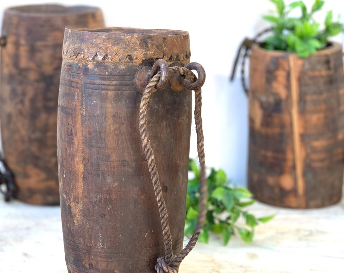 Featured listing image: Rustic Wooden Vases with Rope
