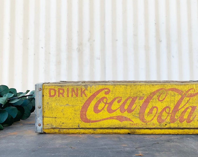 Featured listing image: Vintage Yellow CocaCola Crate with 24 Dividers