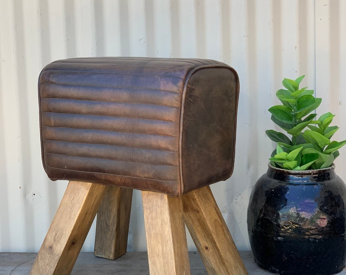 Featured listing image: Vintage Inspired Leather Pommel Horse Ottoman