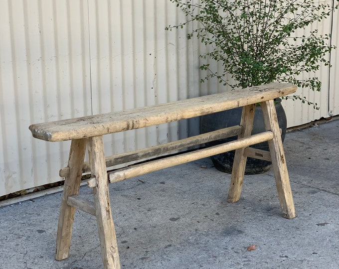 Featured listing image: Vintage Neutral Wooden Skinny Bench {A}  (Free Shipping)