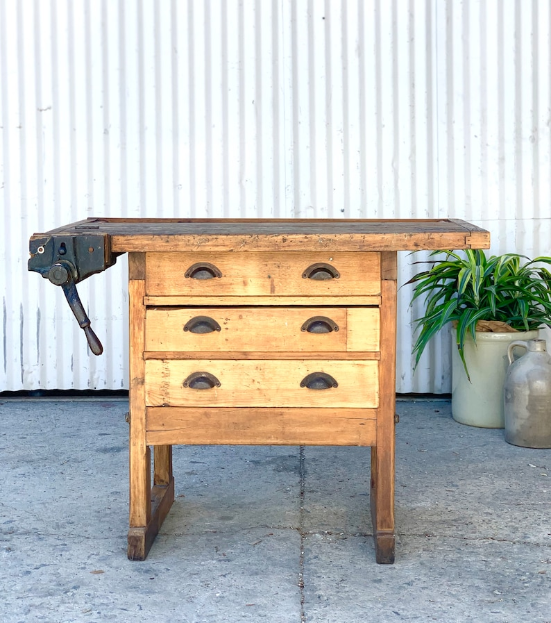 Outstanding Antique Wooden Work Bench Local Pick Up Only Frankydiablos Diy Chair Ideas Frankydiabloscom