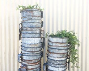 vintage hanging calf feed bucket