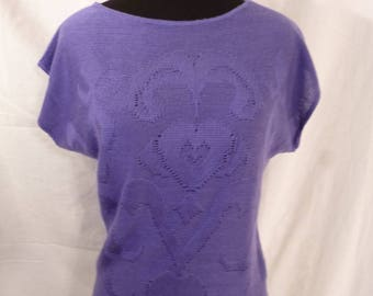 Vintage 70s cap Sleeve Sweater Blue Lilac Sz Small **see measurements**