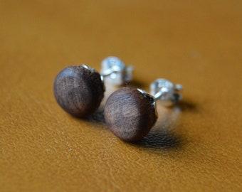 Small Wooden Sterling Silver Stud Post Earrings