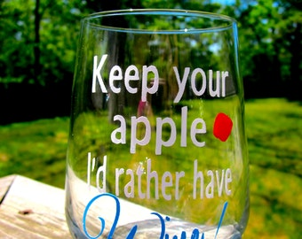 Keep Your Apple- Stemless Wine Glass-  Great Gift for Teachers