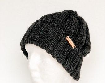 e2218711 Black 100% wool knit hat, warm winter mens beanie, stocking stuffers,  Christmas gifts for boyfriend