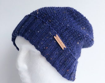 Men knit dark blue speckled wool winter beanie with foldable double brim, hat, gift for him