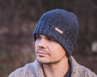 Men beanie,knit grey speckled wool winter beanie with foldable brim,hat, Christmas gifts for him, father, husband, boyfriend, birthday gifts