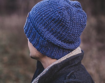 Men beanie,  blue wool man knit winter hat, birthday gift for him, stocking stuffers,