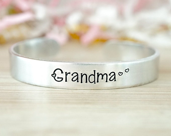 Grandma Cuff Bracelet - Grammy Cuff Bracelet - Gifts for Grandma - Gifts for Grammy - Katy Ryan Designs - Adjustable Cuff Bracelet Silver