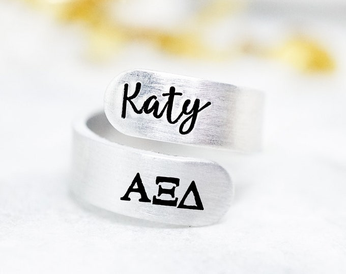 Alpha Xi Delta Sorority Custom Name Ring - Sorority Recruitment Group Gift - Alpha Xi Delta Jewelry - AXiD Gift - Big Little Reveal