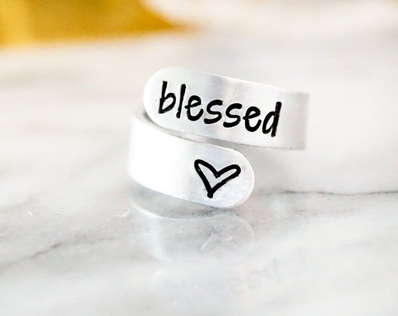 Blessed Adjustable Wrap Ring - Grateful Thankful Blessed - Gifts for Her - Silver Ring - Gift for Mom - Women - Jewelry for Her - Gift Idea