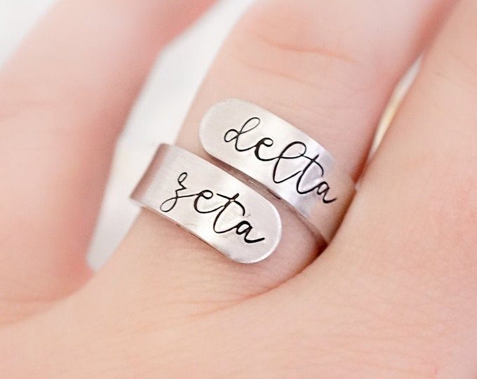 Delta Zeta Sorority Cursive Wrap Ring - Big Little Reveal - Sorority Gifts - Greek Jewelry - Big Little Gift - Official Licensed Product