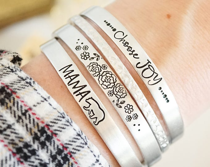 Hand Stamped Mom Cuff Bracelet - Mama Bear - Gifts for Mom - Gifts for Her - Inspirational Jewelry - Gifts under 20- Mother's Day