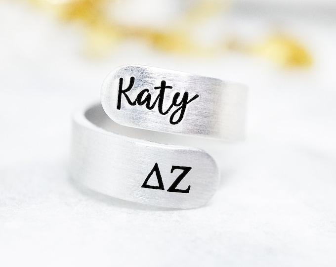 Delta Zeta Sorority Custom Name Ring - Delta Zeta Ring - Delta Zeta Letters - DZ Letters Gift - Big Little Reveal - Big Little Gift - Bulk