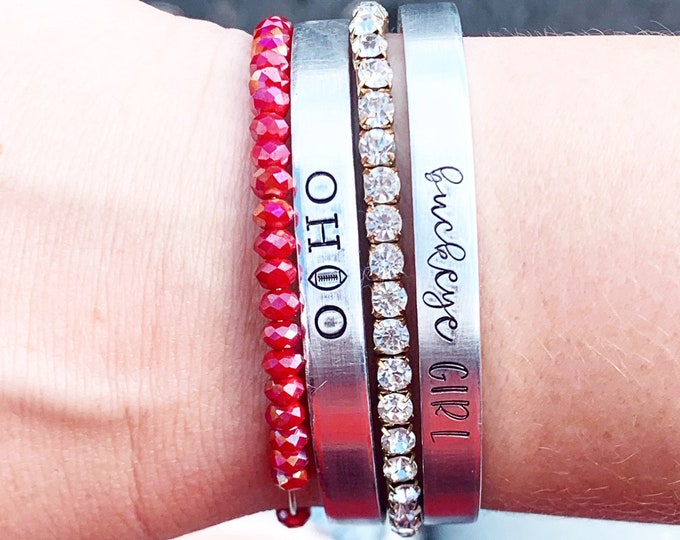 OHIO Football Cuff Bracelet - Buckeye Girl Bracelet - Ohio Jewelry - Football Season - Game Day Accessories - Hand Stamped Jewelry - O H I O