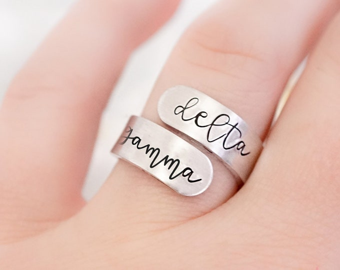Delta Gamma Sorority Cursive Wrap Ring - Big Little Reveal - Sorority Letters - Sorority Gifts - Greek Jewelry - Official Licensed Product