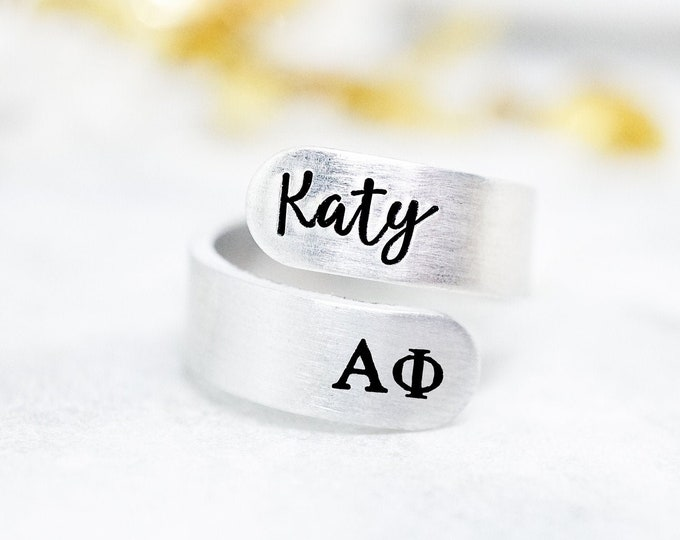 Alpha Phi Sorority Custom Name Ring - Big Little Reveal - Alpha Phi Ring - Bid Day Gift - Group Gifts - Bulk Wholesale - Hand Stamped
