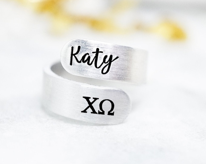 Chi Omega Sorority Custom Name Ring - Chi O Jewelry - Chi Omega Ring - Chi Omega Gifts - Sorority Recruitment - Group Gifts - Bulk Pricing