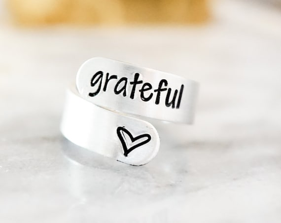 Grateful Adjustable Wrap Ring - Grateful Thankful Blessed - Gifts for Her - Silver Ring - Gift for Mom - Women - Jewelry for Her - Gift Idea