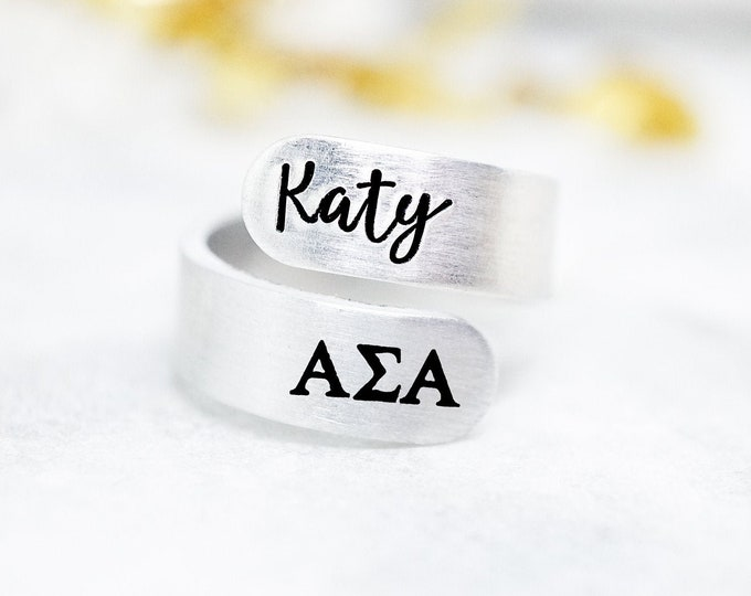 Alpha Sigma Alpha Sorority Custom Name Ring - Sorority Recruitment Group Gift - ASA Sorority - Alpha Sigma Alpha Letters - Personalized