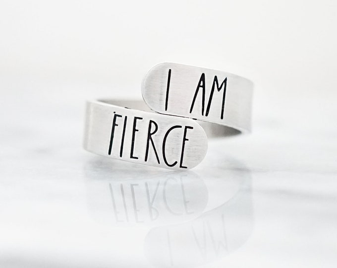 I am Fierce Wrap Ring - Gifts for Her - Motivational Jewelry - Gifts for Women - And Though she be but Little - Shakespeare - Gift for Girls