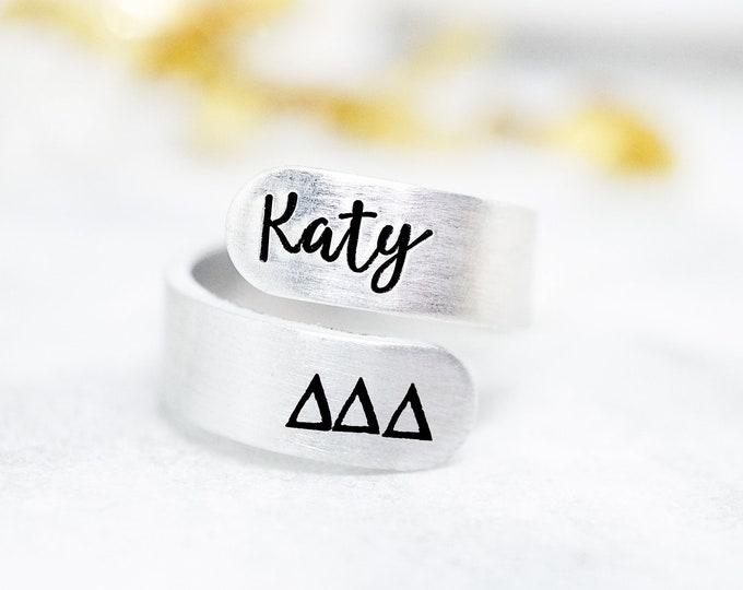 Delta Delta Delta Sorority Custom Name Ring - Delta Delta Delta Ring - Delta Delta Delta Sorority Gifts - Tri Delta Ring - Tri Delta Gifts