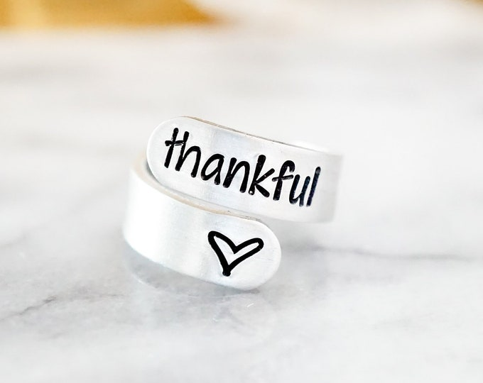 Thankful Adjustable Wrap Ring - Grateful Thankful Blessed - Gifts for Her - Silver Ring - Gift for Mom - Women - Jewelry for Her - Gift Idea