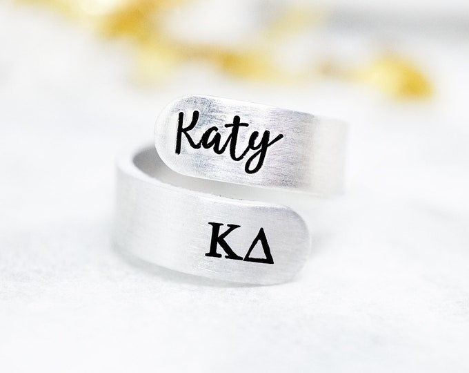 Kappa Delta Sorority Custom Name Ring - KD Sorority Gifts - Kappa Delta Ring - Kappa Delta Gift - Big Little Reveal - Sorority Group Gift
