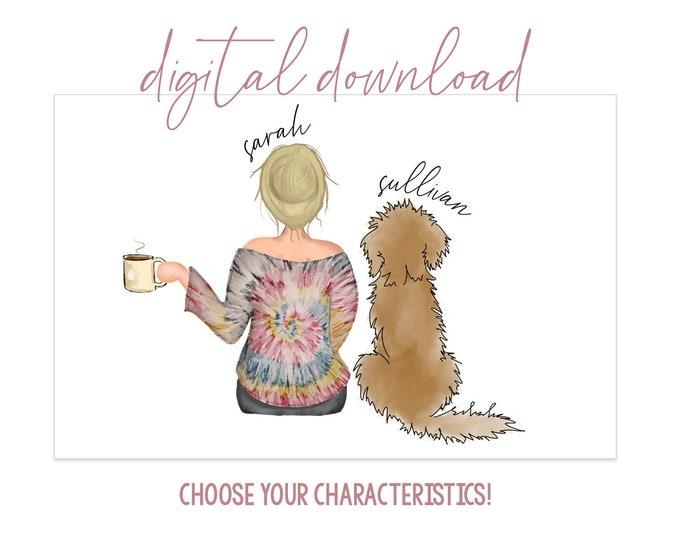 Girl with Doodle Digital Artwork - Digital Download - Personalized Girl with Dog - Dog Mom Gift - Dog Mom Portrait - Dog Portrait - Doodle
