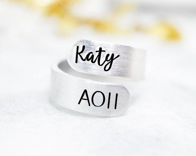 Alpha Omicron Pi Sorority Custom Name Ring - Big Little Reveal - AOii Ring - AOPi Letters - AOii Bid Day Group Gift - Sorority Group Gift