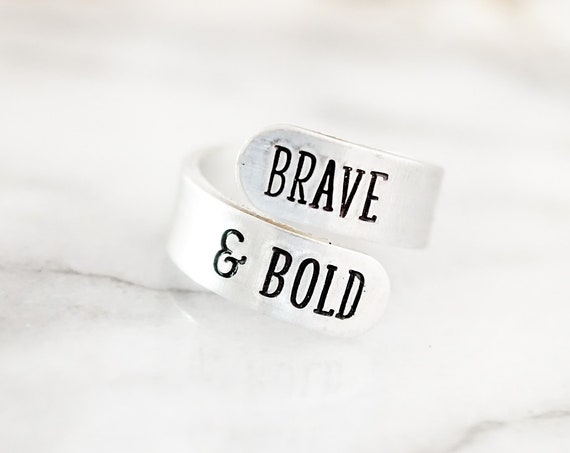 Brave & Bold Adjustable Wrap Ring - Inspirational Gift - Motivational Jewelry - Gifts for Her - Silver Ring - Gift for Mom - Women