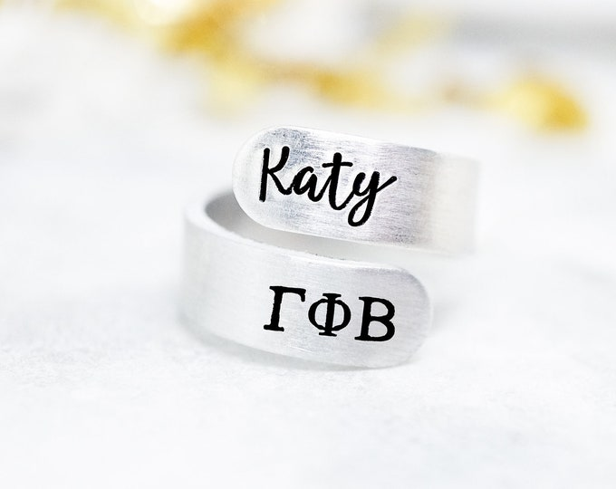 Gamma Phi Beta Sorority Custom Name Ring - ΓΦΒ Sorority Gift - Gamma Phi Beta Ring - Katy Ryan Designs - Big Little Reveal - Group Gift