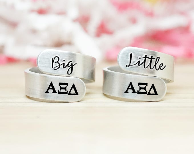 Alpha Xi Delta Big Little Wrap Ring Set - ΑΞΔ Big Little Sorority - Official Licensed Product - AXiD Big Little Reveal - Hand Stamped