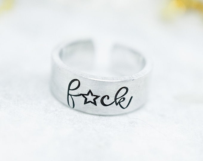 F*CK Toe Ring - Mature - F Word - Funny Toe Ring - Funny Midi Ring - Mid Ring - Cussing - Curse Words - F Word Toe Ring - Hand Stamped