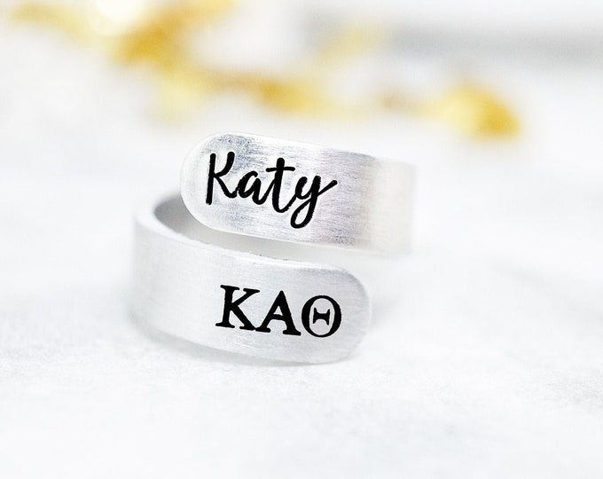 Kappa Kappa Gamma Sorority Custom Name Ring - Personalized Ring with KAT Sorority Letters - Kappa Alpha Theta Gift - Kappa Alpha Theta Ring