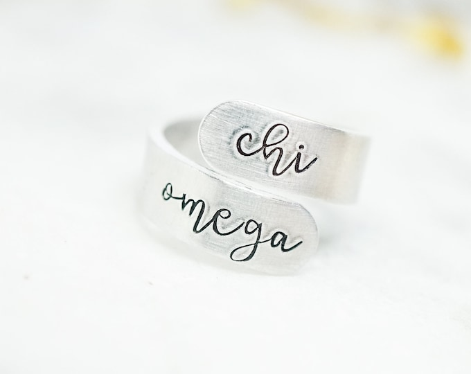 Chi Omega Sorority Cursive Wrap Ring - Big Little Reveal - Sorority Letters - Sorority Gifts - Greek Jewelry - Official Licensed Product