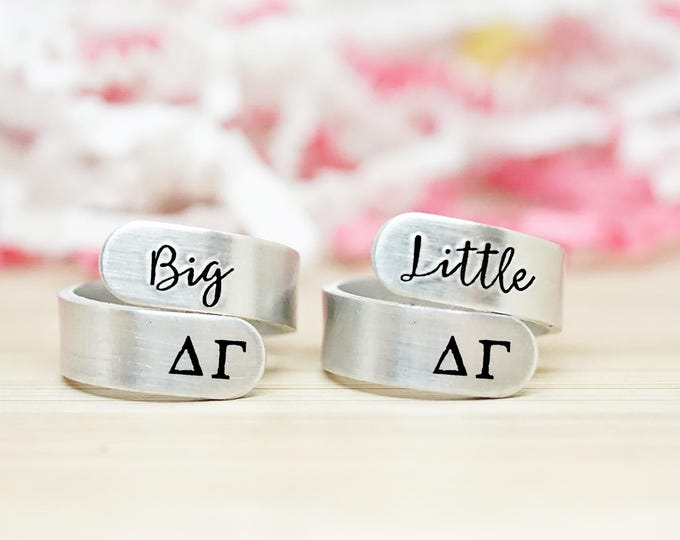 Delta Gamma Big Little Wrap Ring Set - ΔΓ Big Little Sorority - Official Licensed Product - DG Big Little Reveal - Hand Stamped Rings